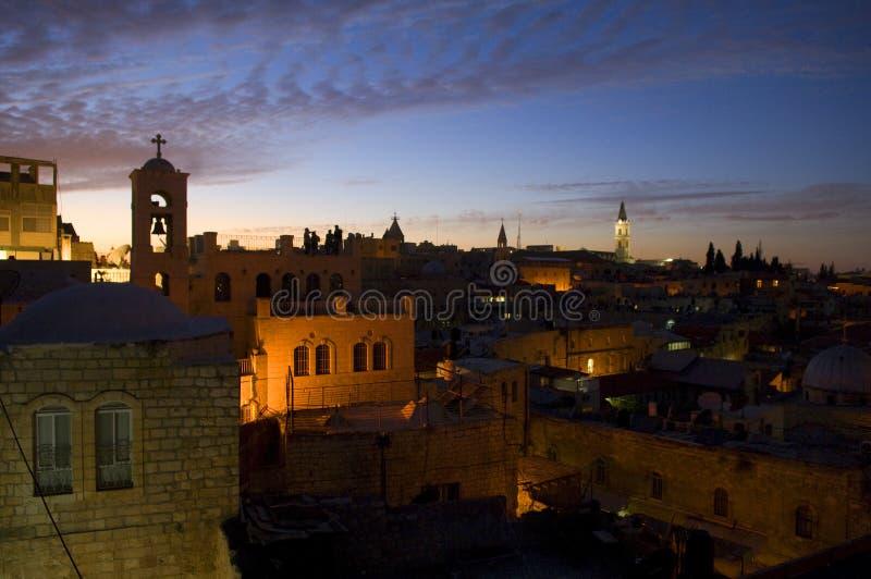 Skymning i den gammala staden av jerusalem fotografering för bildbyråer