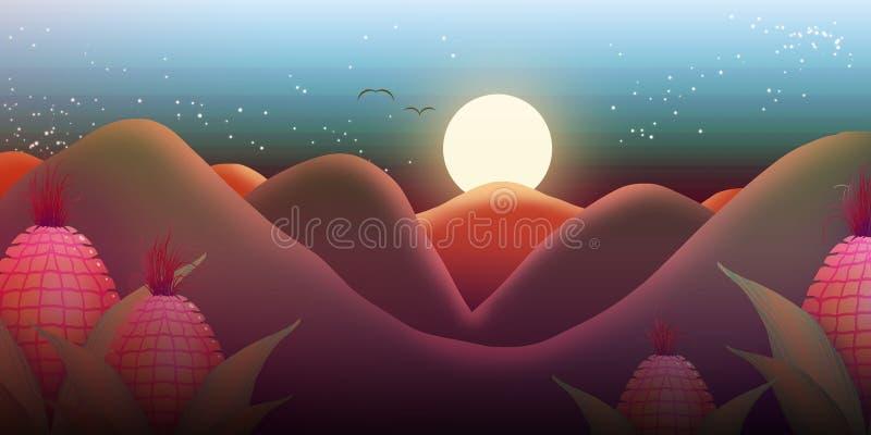 Skymning mellan varma berg stock illustrationer