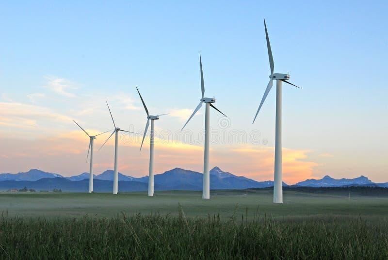 skymningwindmills arkivbild