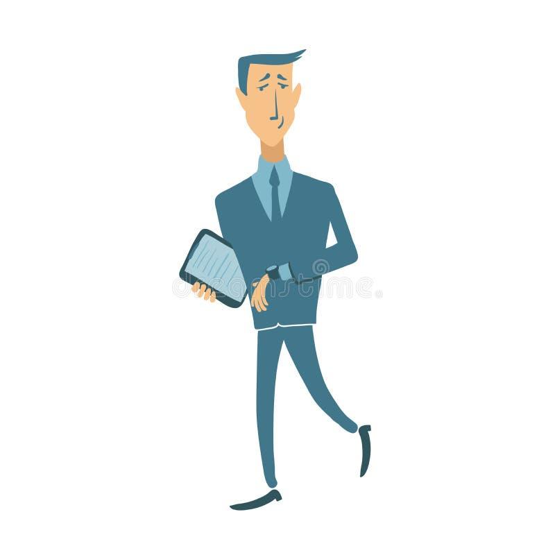 Skynda sig affärsmannen som ser armbandsuret, vektorillustration som isoleras på vit royaltyfri illustrationer