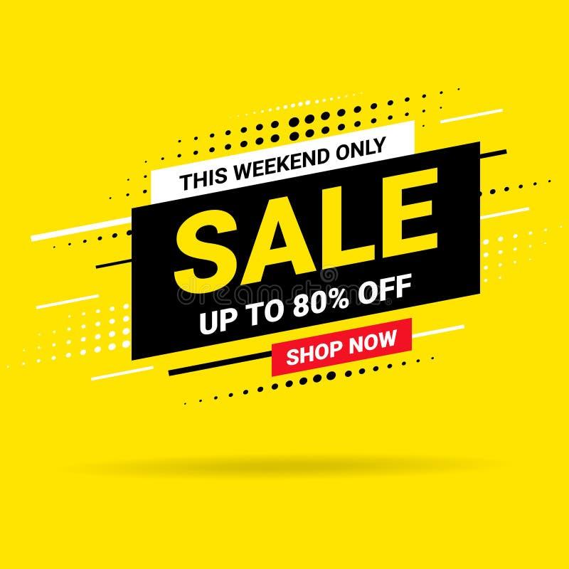 Skynda sig i helgen endast det Sale banret, affischbakgrund Stor försäljning, specialt erbjudande, rabatter, upp till 80 av vekto royaltyfri illustrationer