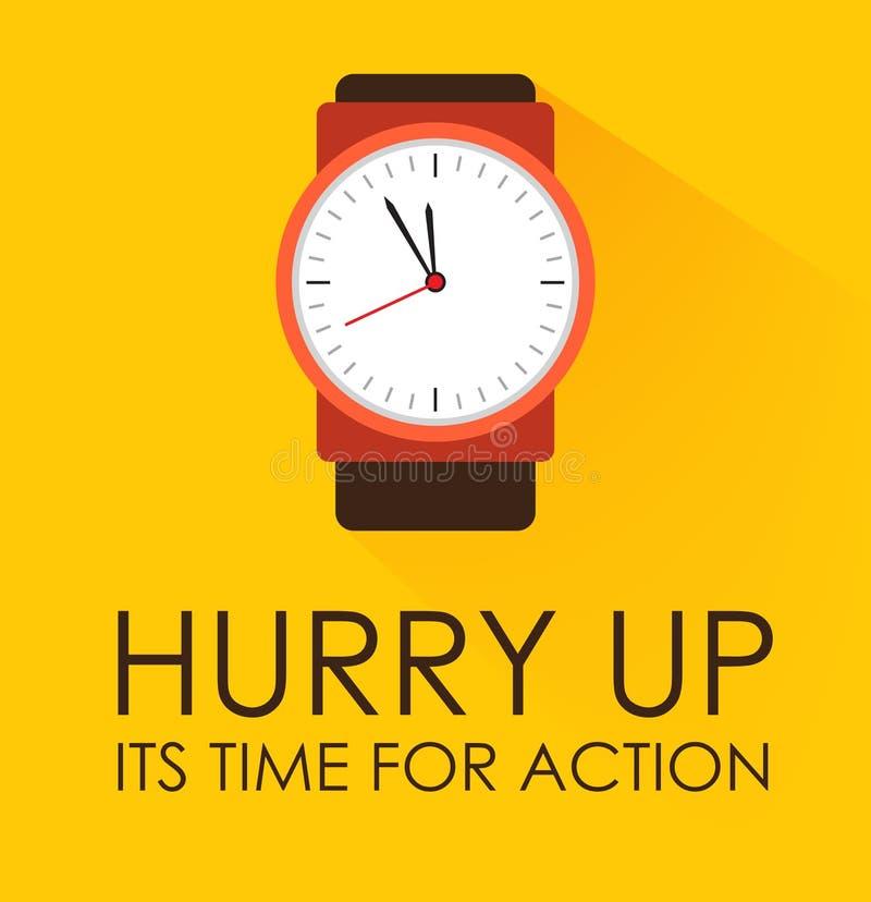 Skynda sig upp, dess Time för handlingbegrepp Stoppurklocka som tickar på gul bakgrund arkivfoton