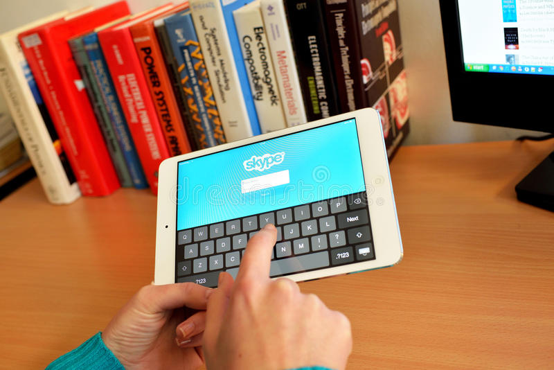 Skype social network on digital tablet stock images