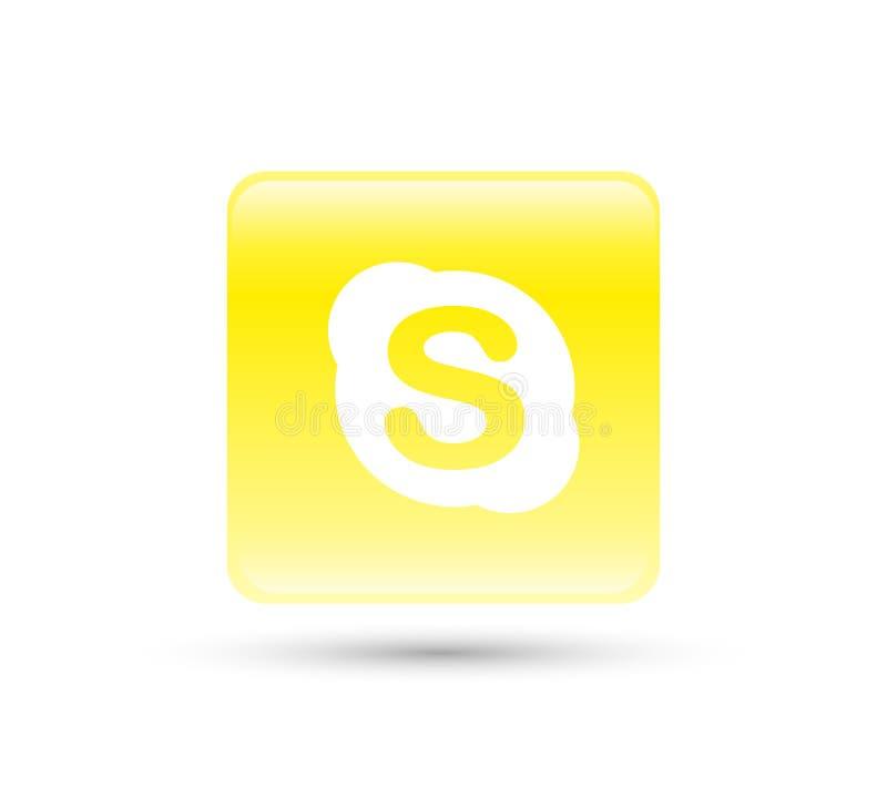 Skype-de vector van het embleempictogram met de gele illustratie van het gradi?ntontwerp stock illustratie