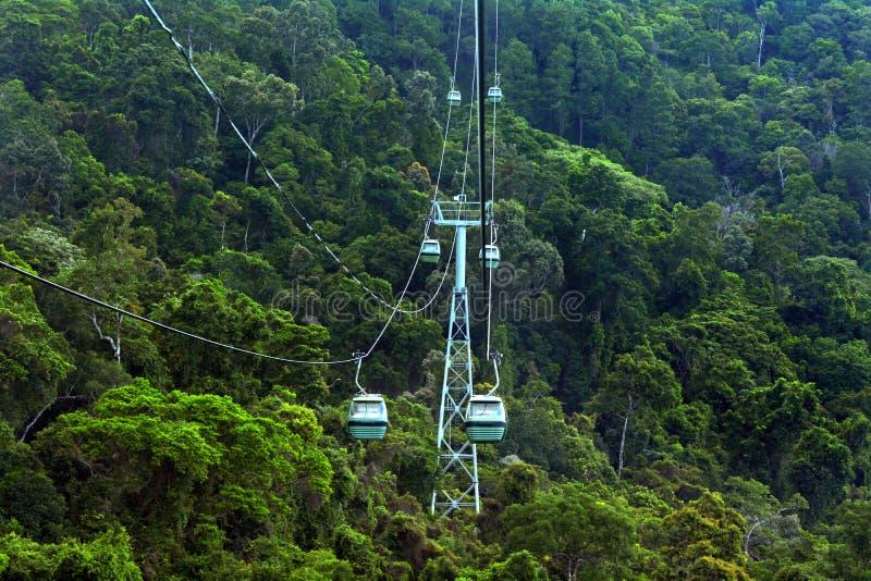Skyrail在Barron峡谷国家公园阙上的雨林空中览绳 图库摄影