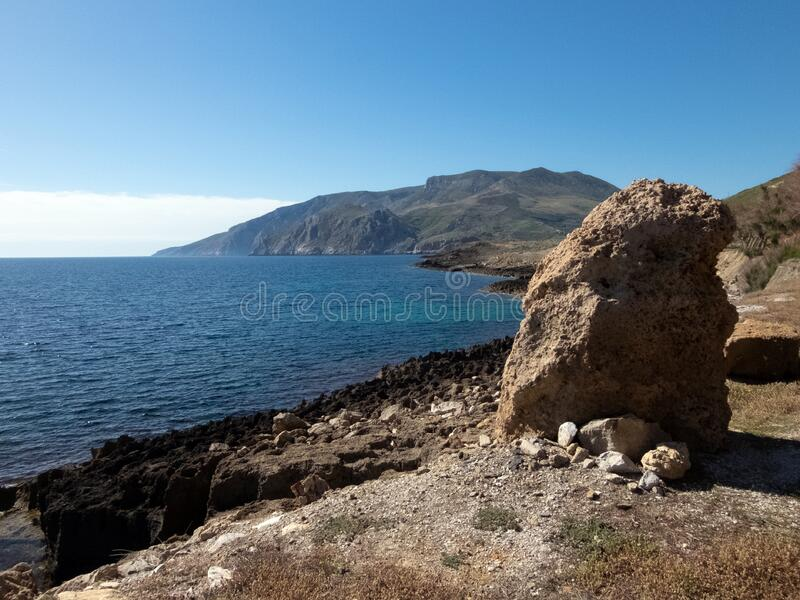 Ancient quarry in Skyros island in Greece royalty free stock photo