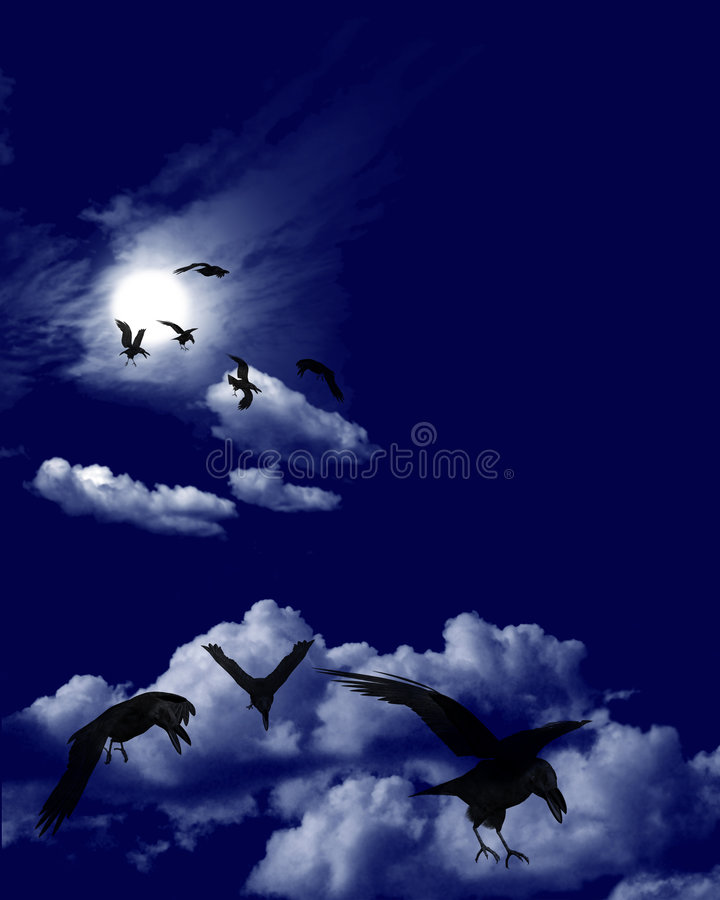 skyscape стаи вороны moonlit бесплатная иллюстрация