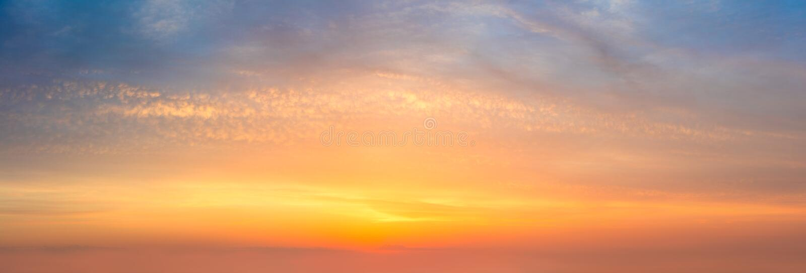Skyscape background - Panoramic  Sunset  Sunrise Sundown Sky with colorful clouds royalty free stock photos