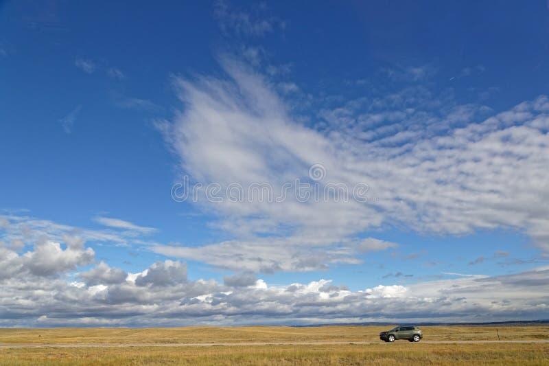 Skyscape i niezmierność Wielkie równiny Wyoming obraz stock
