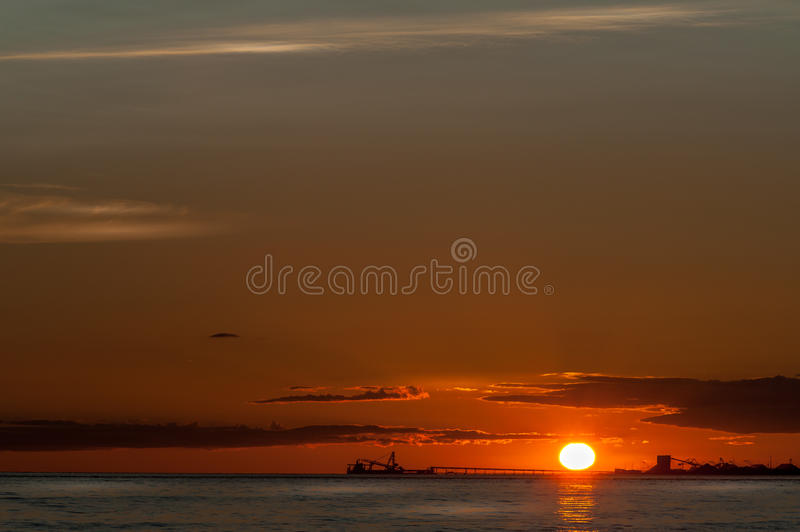 Skyscape and oil tankers at sunset stock photos