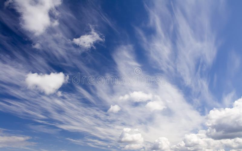 Skyscape. Summer scene. Blue sky und white clouds royalty free stock photo