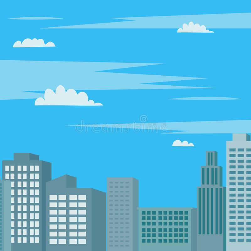 Skyscape with towers scene vector illustration.Modern business buildings and sky background. stock illustration