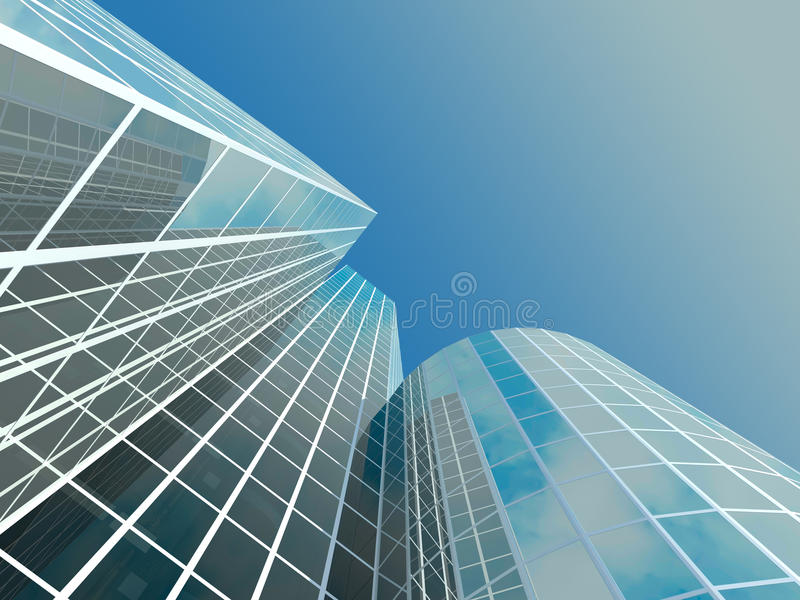 Skyscaper. Skyscraper with tinted windows on the background of a cloudless sky. Some windows are transparent royalty free illustration