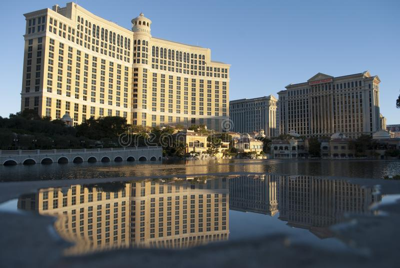 Skyscapers bei Sonnenaufgang Bellagio von Las Vegas lizenzfreies stockbild