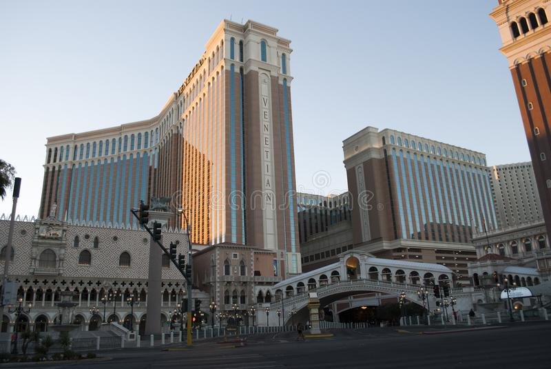 Skyscapers bei Sonnenaufgang Venetianisch von Las Vegas stockbilder