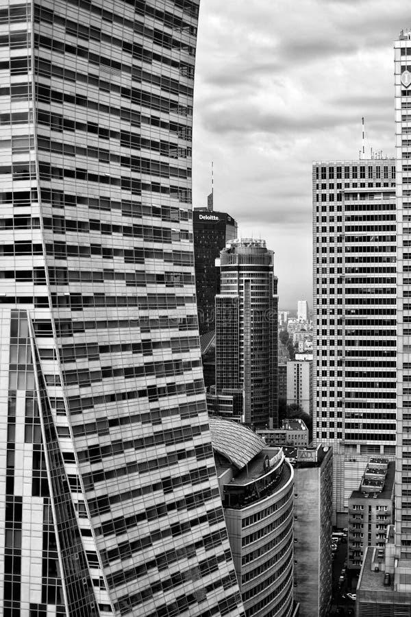 Skyscapers em Varsóvia fotografia de stock