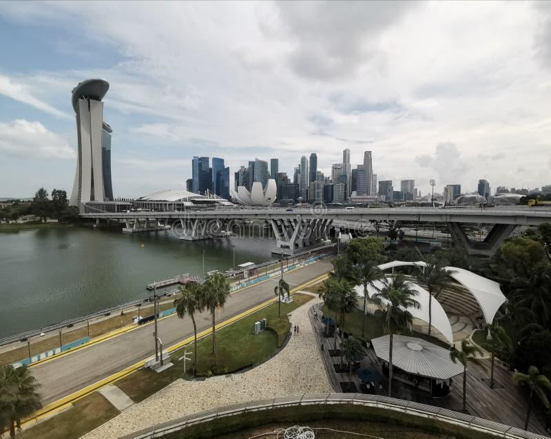 Skyscapers Marina Bay Sands en Art Science Museum van Singapore stock afbeeldingen