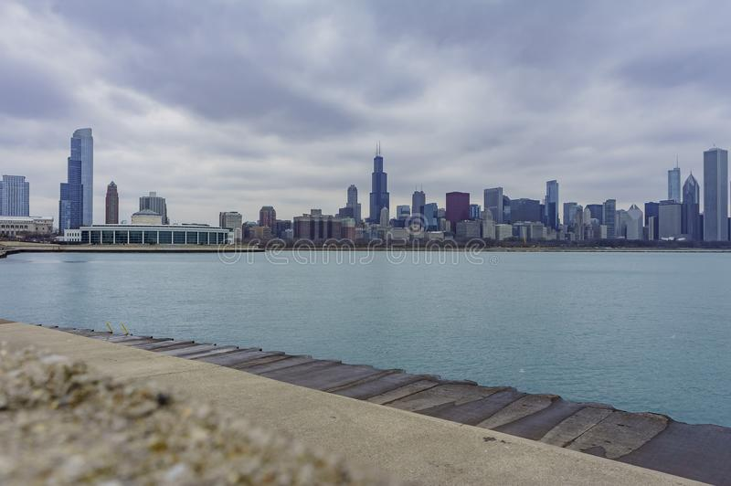 Skyscapers and skylin of Chicago and Lake Michigan from Milennium Park. At Illinois, United States royalty free stock photography