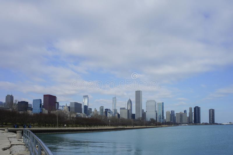 Skyscapers and skylin of Chicago and Lake Michigan from Milennium Park. At Illinois, United States royalty free stock photo