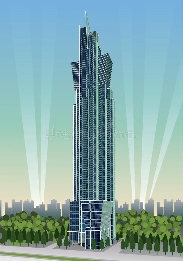Skyscraper. Detailed illustration of a very high skyscraper stock illustration