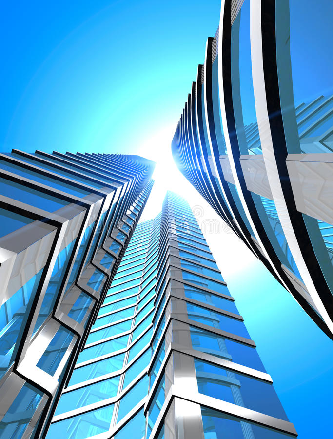 Skyscraper. Blue glass of skyscraper - 3d rendering vector illustration