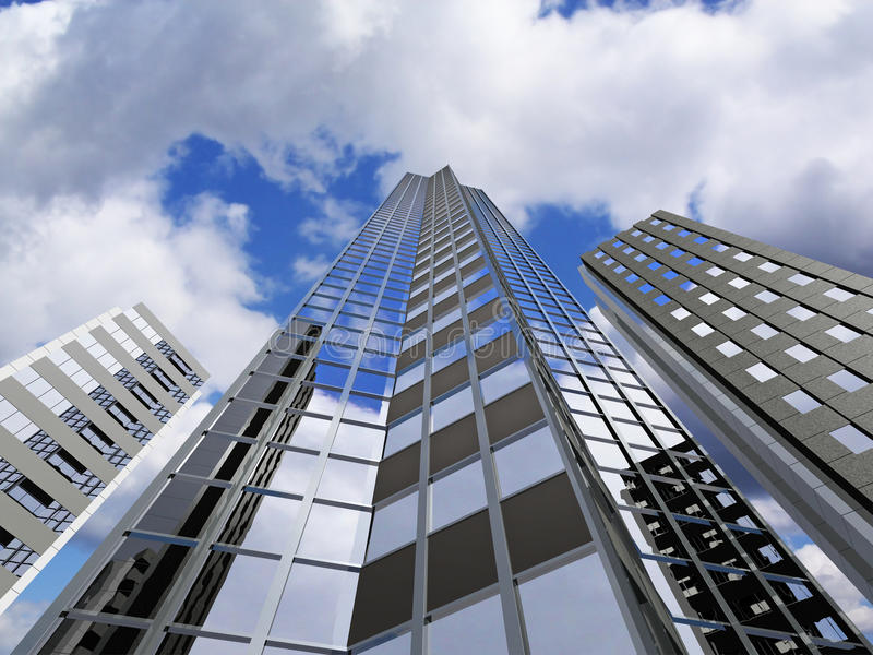 Skyscraper. Modern skyscraper reaching up to the sky - rendering stock illustration