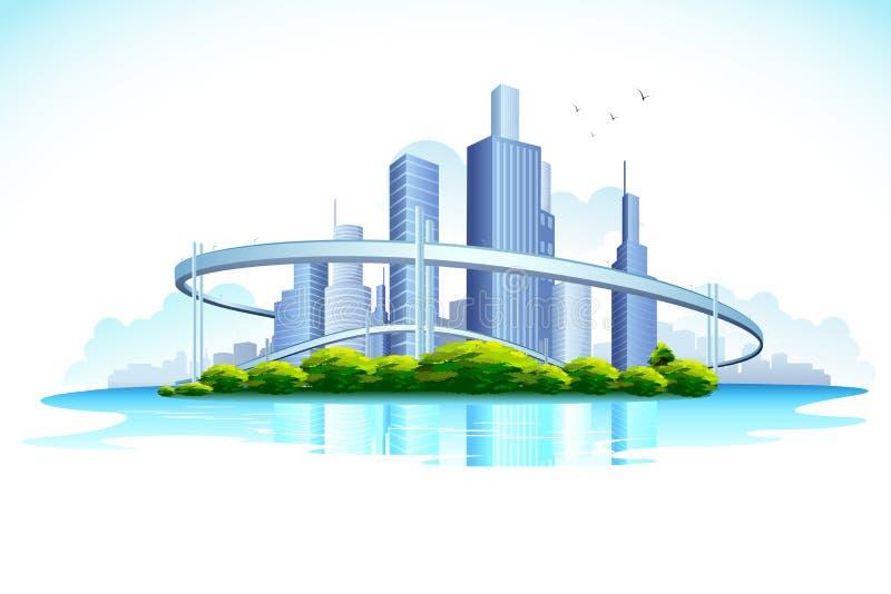 Skyscraper. Illustration of skyscraper in urban city with lake stock illustration