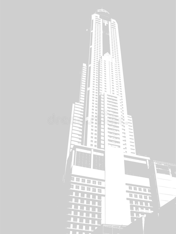 Skyscraper 3. The skyscraper rests directly against the sky. It has many floors and the lift. Round a skyscraper empty space stock illustration