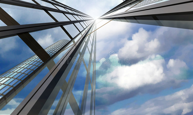 Skyscraper. With cloudy sky reflection stock illustration