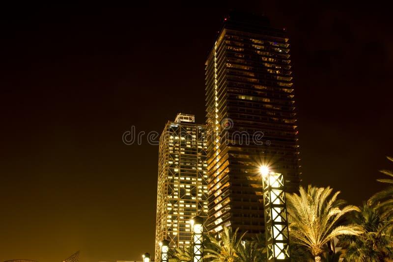 Skyscraper in Barcelona at night stock images