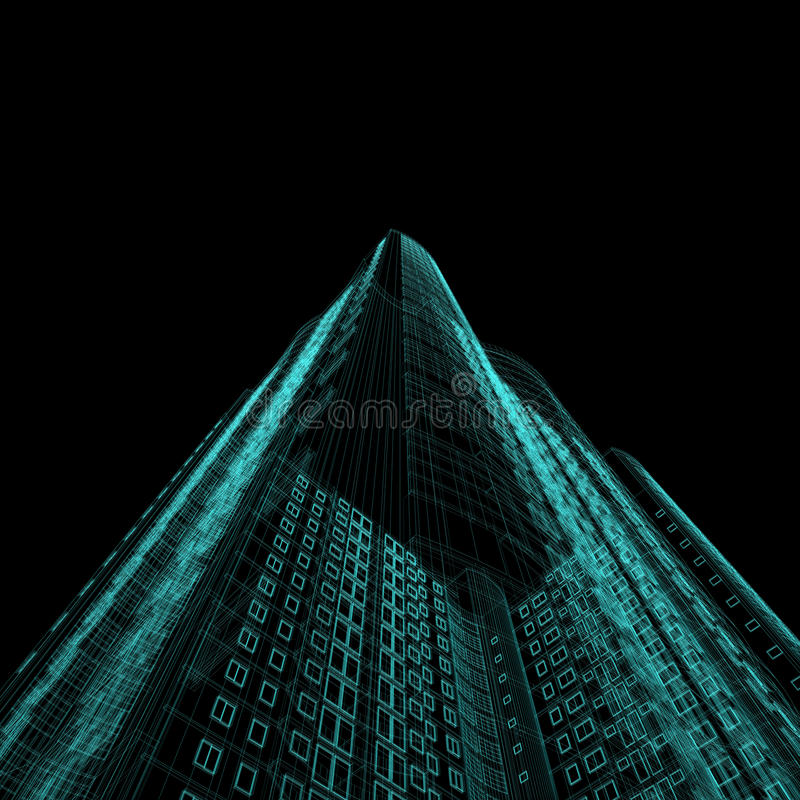 Skyscraper blueprint. Architecture blueprint of skyscraper on black background vector illustration