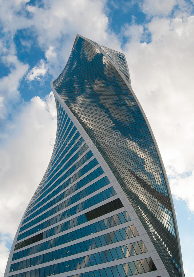 Skyscraper. Bottom view of curved glass skyscraper of Moscow city stock photos