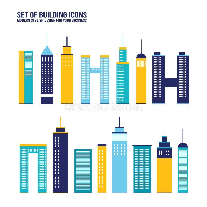 Free Skyscraper Building Icon Set Stock Image - 46928831