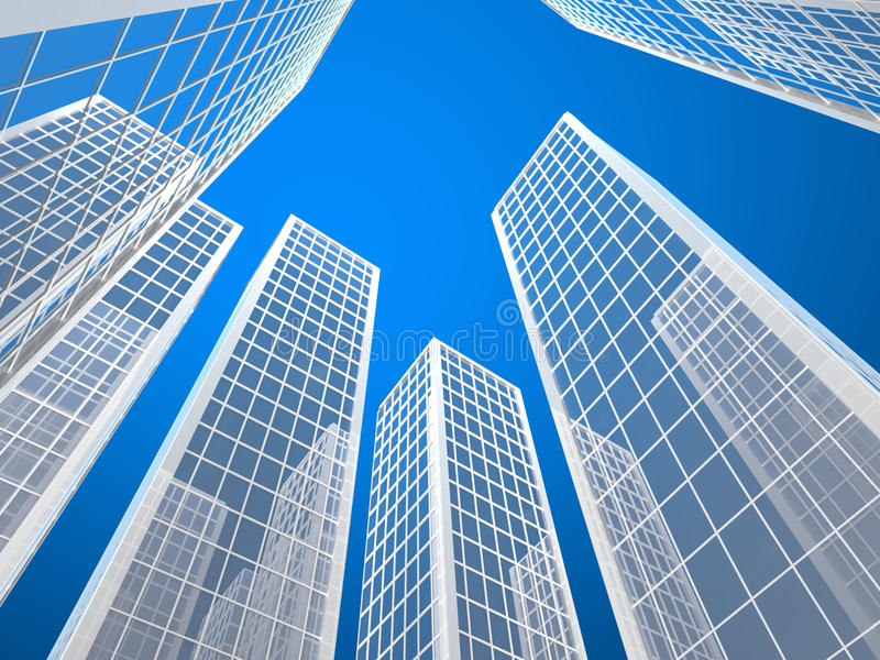 Skyscraper buildings. Low angle view of modern skyscraper buildings with reflective glass and blue sky background stock illustration