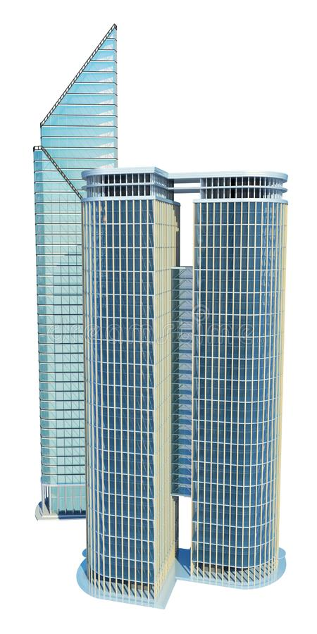Skyscraper buildings. Isolated on white. 3d illustration royalty free illustration