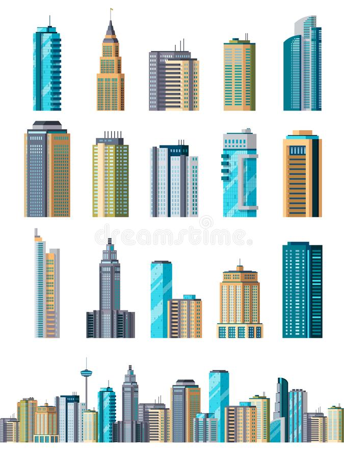 Skyscraper buildings. Modern building flat office city apartment, house residential block, exterior business town. Cartoon vector royalty free illustration