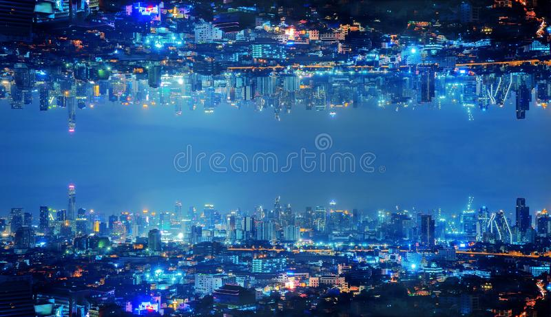 Skyscraper buildings in urban city, Bangkok, Thailand upside down at night in inception Sci-fi futuristic technology fantasy. Concept. Effect style with space stock image