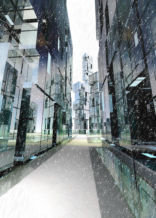 Free Skyscraper Business Street Winter Concept Stock Photography - 27943832