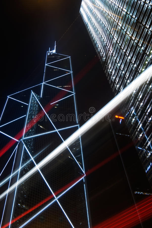 Skyscraper with cars motion blurred light stock photo