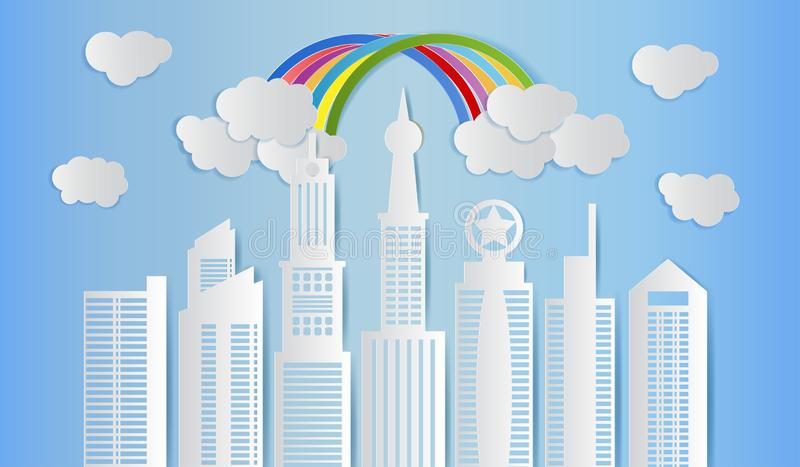 Skyscraper with clouds and rainbow on blue sky, Modern city skyline building, Paper art style. Vector illustration stock illustration