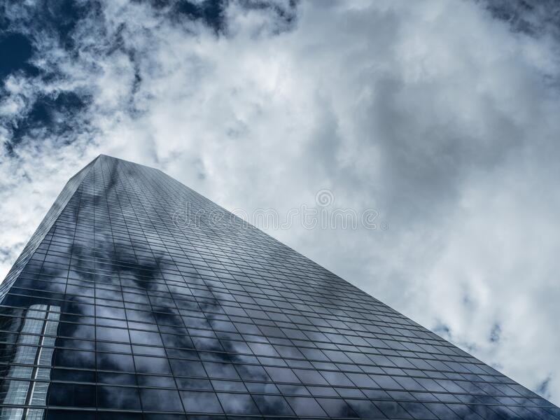 Skyscraper constructed of glass and steel stock photography