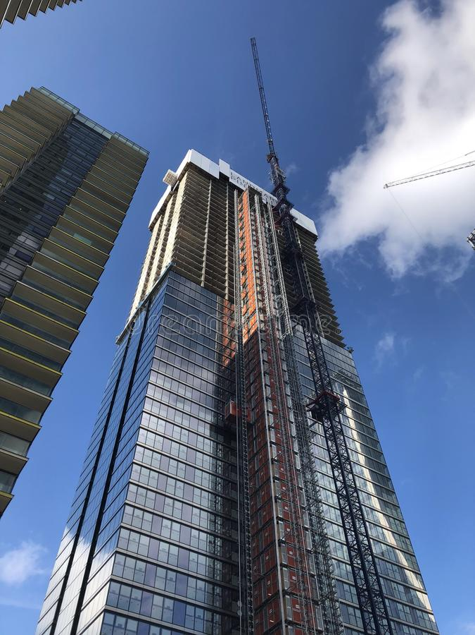 Skyscraper construction at Canary Wharf London royalty free stock photo