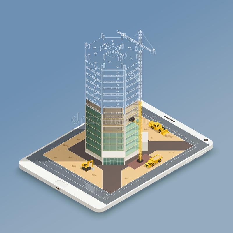 Skyscraper Construction Isometric Composition. Skyscraper construction on smart phone screen isometric composition with steel tubes frame and yellow machinery stock illustration