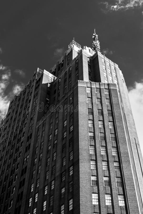 Skyscraper in Downtown Manhattan, in Black & White, New York City, NY. Skyscraper in Downtown Manhattan, in Black and White, New York City, NY stock photography