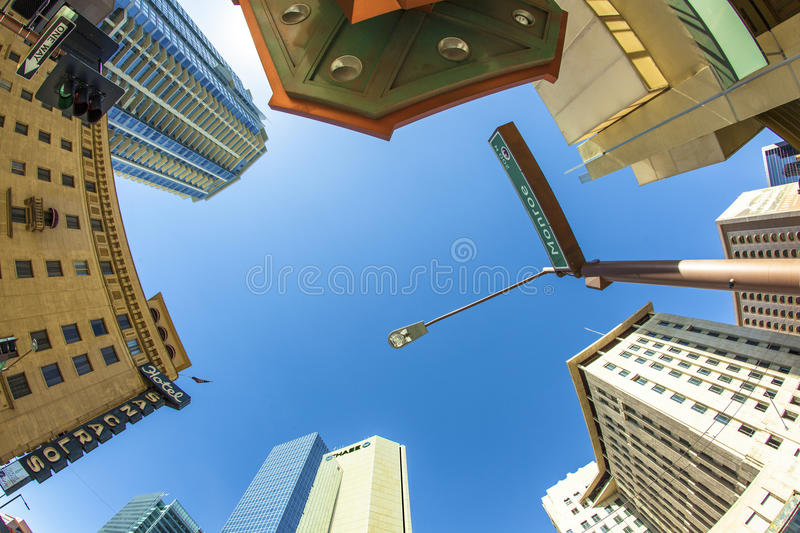 Skyscraper downtown phoenix,. PHOENIX, USA - JUNE 14: perspective of skyscrapers corner San Carlos Monroe street on June 14,2012 in Phoenix, Arizona. The famous stock photo