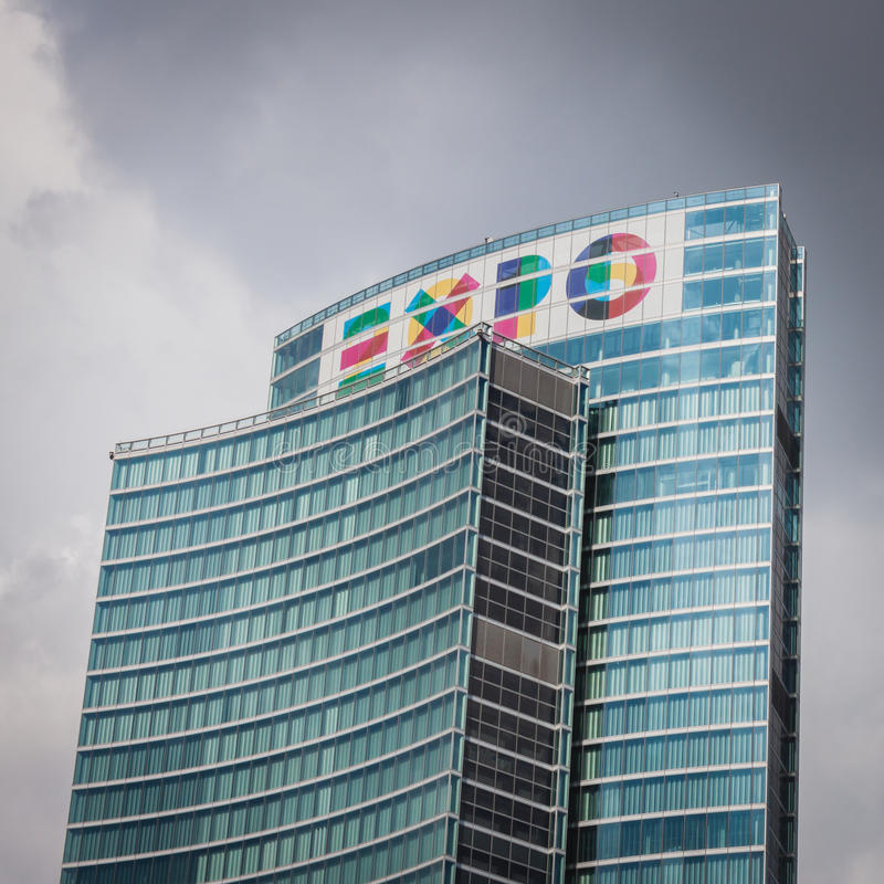Skyscraper with Expo logo at Porta Nuova in Milan, Italy. MILAN, ITALY - MAY 28: The new Porta Nuova area with its futuristic skyscrapers is finally open to stock photography