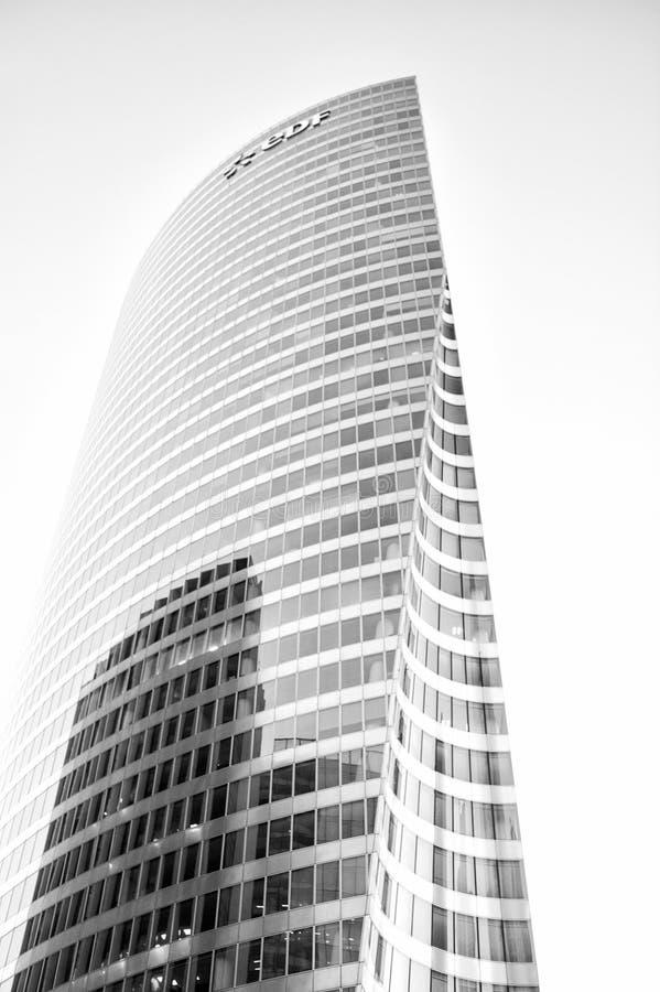 Skyscraper glass facade in la defense, paris royalty free stock images