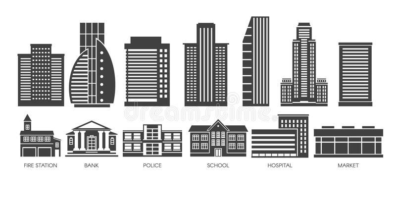 Skyscraper and govermant building black and White set. Modern skyscraper and govermant building black and White set vector illustration