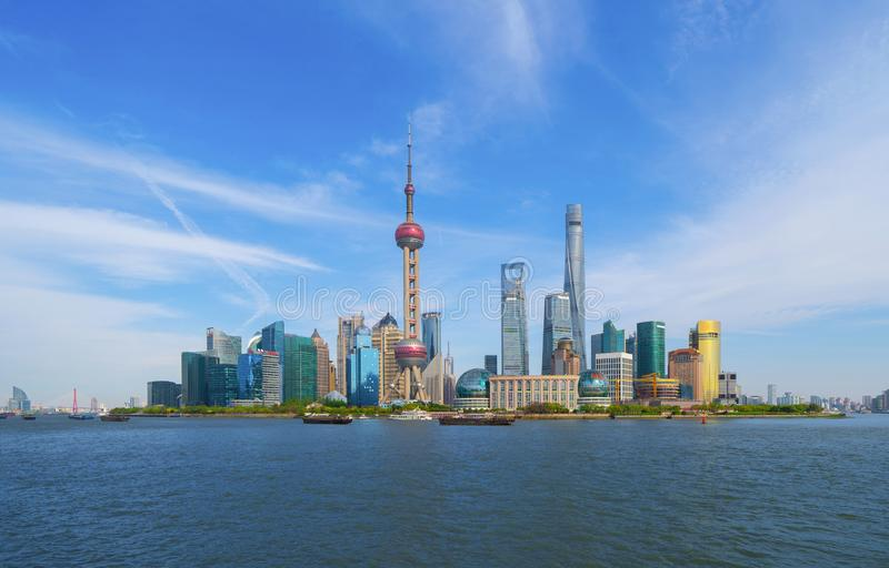 Skyscraper and high-rise office buildings in Shanghai Downtown with blue sky, China. Financial district and business centers in. Smart city in Asia stock image