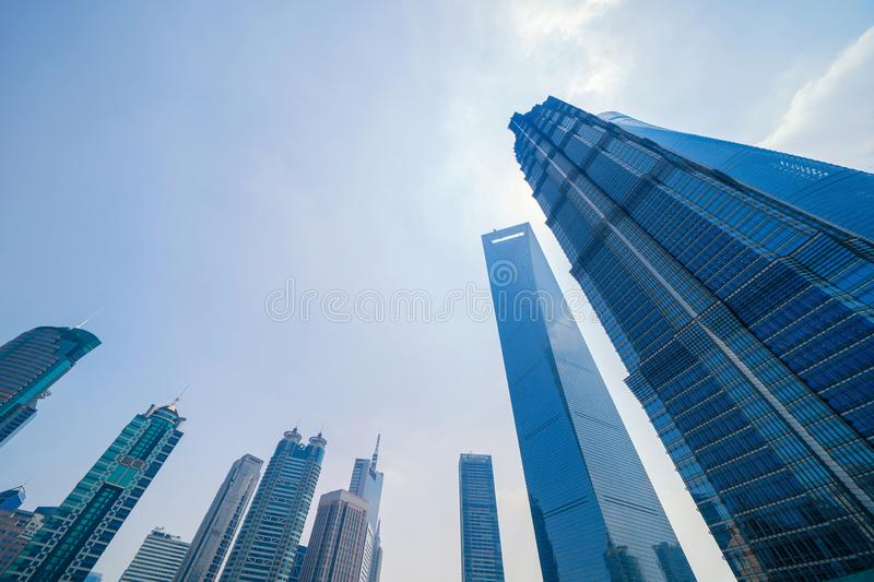 Skyscraper and high-rise office buildings in Shanghai Downtown, China. Financial district and business centers in smart city in royalty free stock images